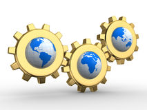 Earth globes. Conceptual Earth globes and gear mechanism. 3d render Royalty Free Stock Image