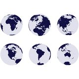Earth globes with 6 continents Royalty Free Stock Images