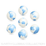 Earth globes colection, white - blue. Collection of earth globes isolated on white, illustration Stock Photo