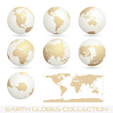 Earth globes colection, white - cream Royalty Free Stock Photos