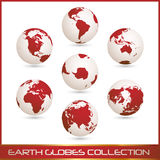 Earth globes colection, white - red. Collection of white- red earth globes isolated on white, clip art illustration Royalty Free Stock Photography