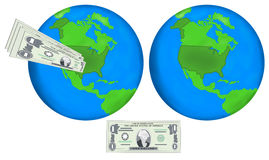 Earth globes and dollars Stock Photography