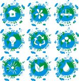 Earth globes , eco concept icons in vector. 9 globes with eco icons on Royalty Free Stock Images