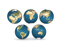 Earth globes with five continents Stock Photo