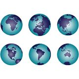 Earth globes with gradient Stock Images