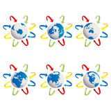 Earth globes icons. Earth globes and arrows, isolated object over white background Royalty Free Stock Image