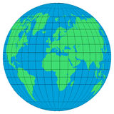 Earth globes  with the latitudes and meridians on white background. Flat planet Earth icon. Vector illustration Royalty Free Stock Images