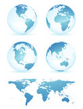 Earth globes and map Stock Photography