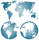 Earth globes over continents. Royalty Free Stock Photography