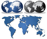 Earth globes over continents. And world map Stock Photos