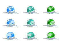 Earth globes with planes Stock Photo