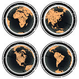Earth globes rubber stamp Stock Image