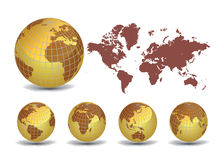 Earth globes set with World map Stock Photos
