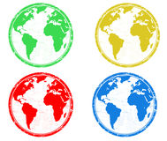Earth globes stamps Stock Image