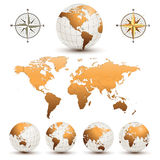 Earth globes with world map Stock Photos