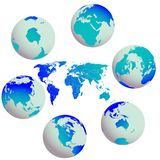 Earth globes and world map against white Stock Image