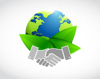 Earth glove leaves and hands. illustration design Stock Photography