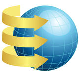 Earth and gold arrows Royalty Free Stock Photography