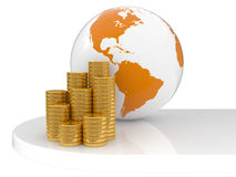 The Earth and gold coins Royalty Free Stock Photos