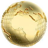 Earth in Gold Metal isolated (Africa/Europe). Earth in solid gold (Africa/ Europe) isolated (3d mesh derived from NASA map - http://visibleearth.nasa.gov Royalty Free Stock Photography