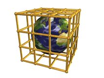 Earth in golden cage Stock Photos