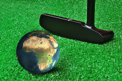 Earth Golf. Playing Golf With Planet Earth Royalty Free Stock Photo