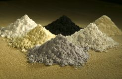 Earth granules and chemicals Stock Photo