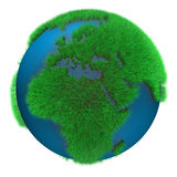 Earth of Grass. Earth Globe with grass view of Africa and Europe Royalty Free Stock Photos