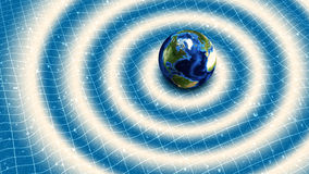 Earth Gravitational Waves. Illustration of Earth generating gravitational waves stock illustration