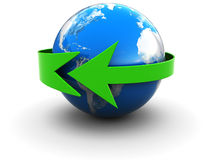 Earth with green arrow Stock Photo