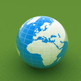 Earth on green beautiful 3d illustration Royalty Free Stock Images