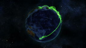 Earth with green connections turning on itself with Earth image courtesy of Nasa.org stock video