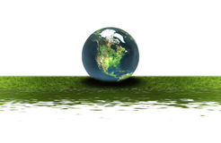 Earth on the green grass Royalty Free Stock Photography