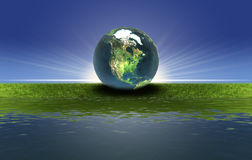 Earth on the green grass Stock Image