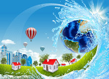 Earth, green grass, buildings and water royalty free illustration