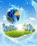 Earth, green grass, skyscrapers and water stock illustration
