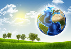 Earth, green grass and trees vector illustration