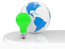 The Earth and green lamp Royalty Free Stock Photo