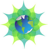 Earth on green leaves  on white background. Mother earth. Blue planet. Royalty Free Stock Photo