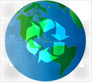 Earth green puzzle recycling royalty free illustration