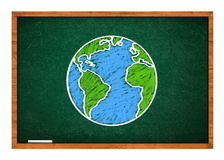 Earth on green school chalkboard Stock Images