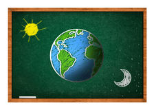 Earth on green school chalkboard Stock Photos