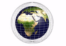 Earth with a grid Stock Photography