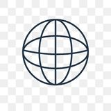 Earth grid vector icon isolated on transparent background, linear Earth grid transparency concept can be used web and mobile stock illustration