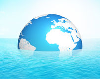 Earth half water 3d render Stock Photos