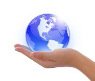 Earth in hand. Concept photography -- earth in hand and global internet and  business Royalty Free Stock Photos