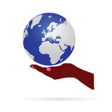 Earth in hand color vector Royalty Free Stock Photography