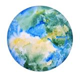 Earth Hand Drawn. Globe Watercolor Texture. World Map, White Background. Save Planet Icon Concept. Earth Hand Drawn. Globe in Watercolor Texture.  Illustration Royalty Free Stock Images