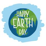 Earth with hand drawn lettering. `Happy Earth Day`. Vector illustration Stock Photos