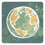 Earth hand drawn symbol grunge icon Royalty Free Stock Image